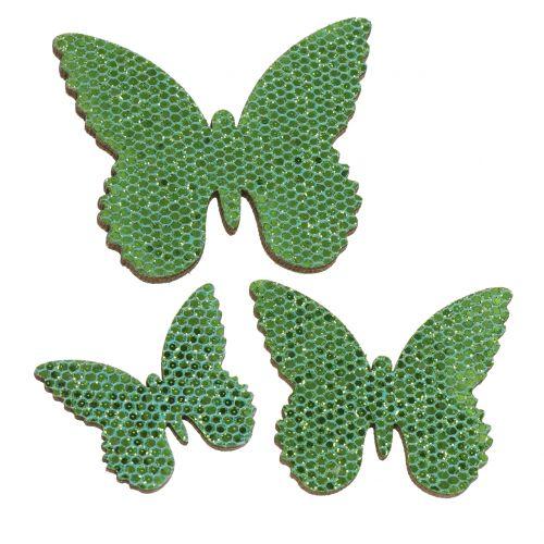 Décoration à contrôler Butterfly Green-Glitter 5/4 / 3cm 24pcs