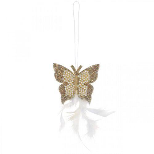 Feutre papillon à accrocher crème décoration mariage 16cm