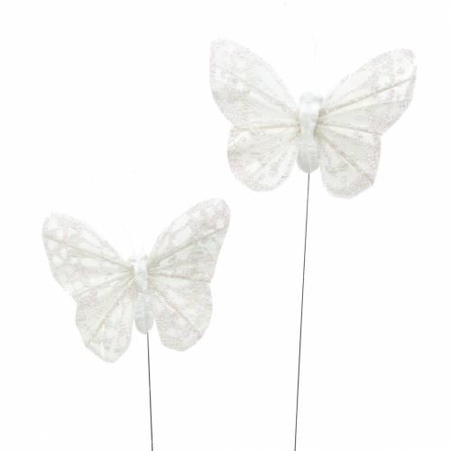 Papillon plume avec fil blanc, paillettes 5cm 24pcs