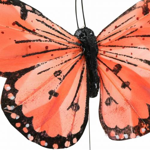 Papillon plume avec fil couleur saumon et violet 10cm 12 pièces
