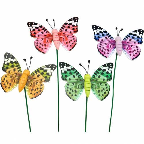 Papillon décoratif sur un bâton, bouchon de fleur, décoration de printemps, 16pcs