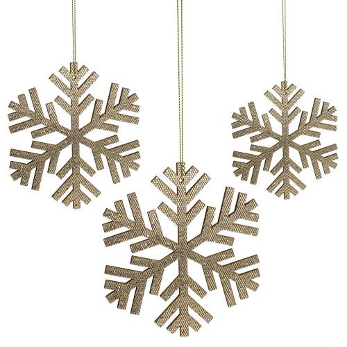 Flocon de neige Gold à suspendre Ø8cm - Ø12cm 9pcs