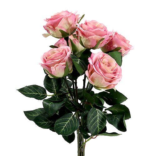 Fleurs en soie rose Ø7cm L37cm rose foncé 6pcs