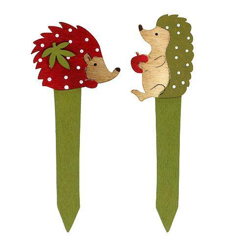 Pique avec hérisson rouge ou vert 13 cm 16 p.