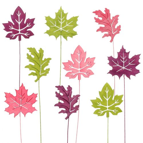 Piques décoratives feuilles fuchsia, vert, bordeaux 8 cm 18 p.