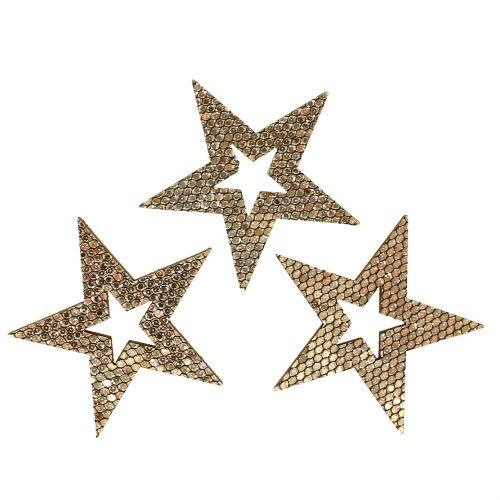Étoile en bois or Décoration à contrôler 4cm 48pcs