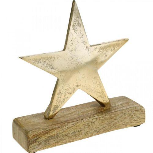 Décoration étoile, décoration métal sur bois de manguier, décoration de l'Avent L15cm
