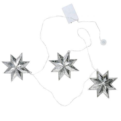 Chaîne étoile acrylique argent 150cm x3 avec LED pour piles