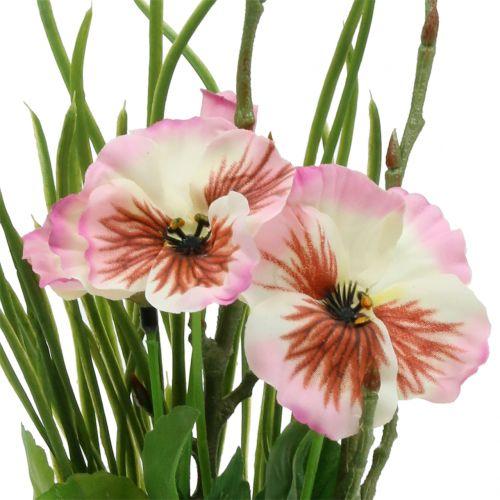 Pensées roses avec motte de mousse 31 cm