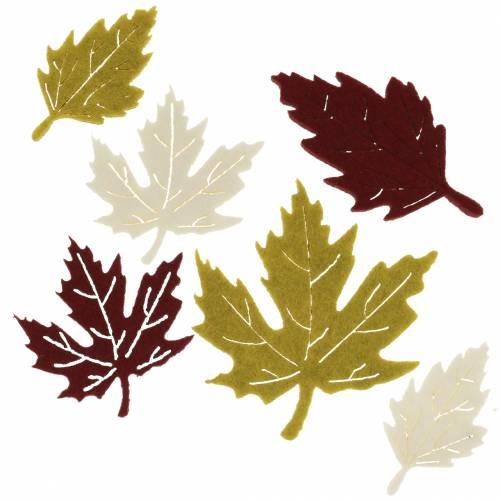 Feuilles d'automne éparses en feutre bordeaux / crème / vert 72pcs