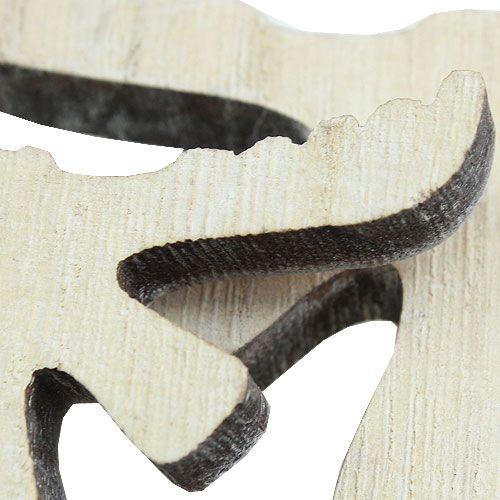 décorations à épandre élan en bois blanchi à la chaux 30pcs