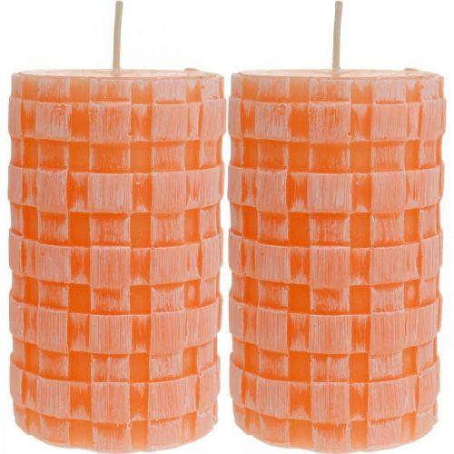 Bougies rustiques, modèle de panier de bougies pilier, bougies de cire orange 110/65 2pcs