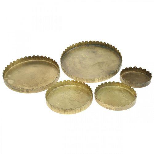 Assiette en métal pour la décoration, décorations de table, plateau à bougie rond doré aspect antique Ø7.5 / 10/12/15 / 18cm H2cm lot de 5