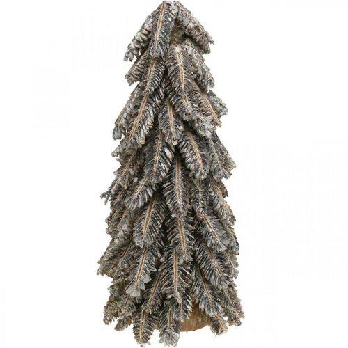 Pommes de pin, décorations de Noël, sapin d'hiver enneigé, blanc lavé H40cm Ø18cm