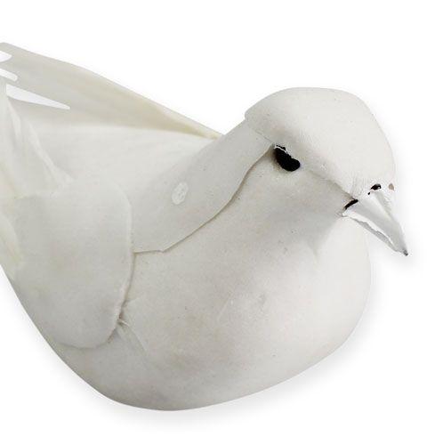 Colombe décorative blanche sur pique 16 cm 4 p.