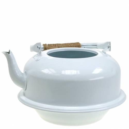 Jardinière bouilloire à thé blanc zinc Ø26cm H15cm