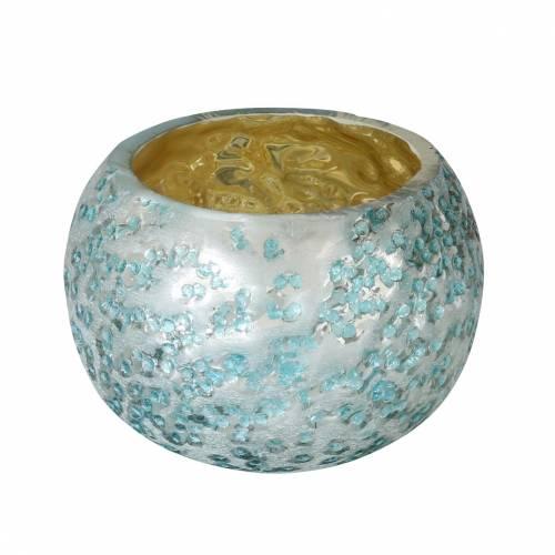 Lanterne en verre argenté bleu glacier Ø8,5cm H6cm