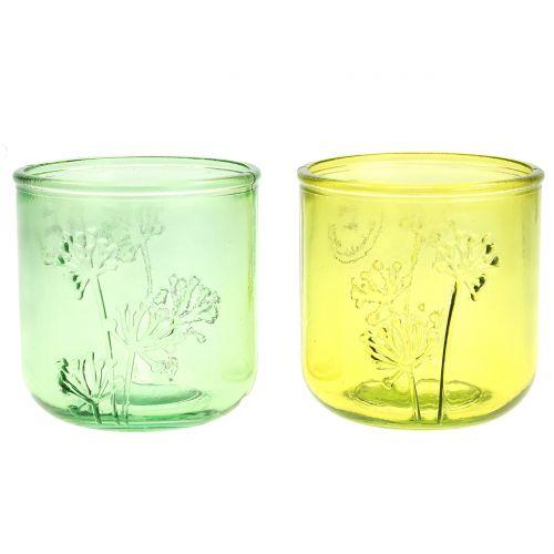 Lanterne en verre déco verte / jaune Ø9cm H9cm 6pcs