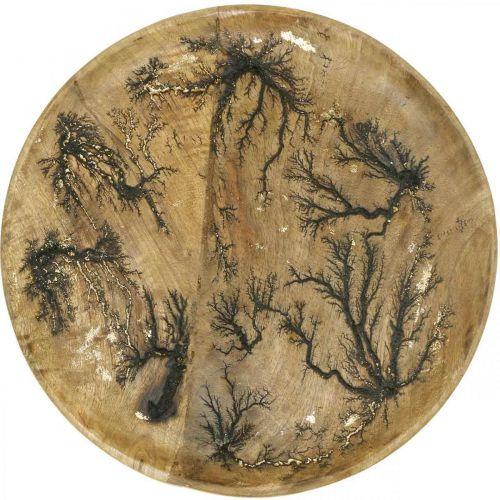 Assiette décorative bois nature, bois de manguier effet craquelé doré Ø30