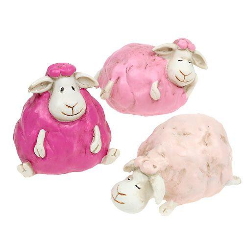 Mouton Rose vif 5,5cm - 7cm 3P