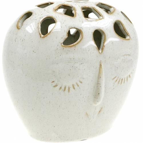 Vase céramique visage crème, beige H13cm aspect grès 1p