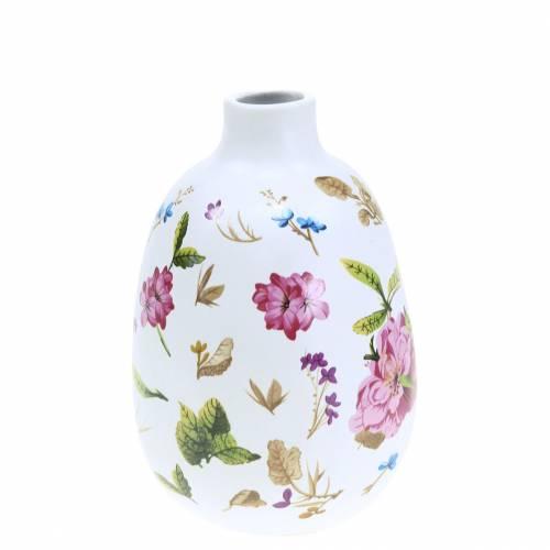 Vase décoratif fleuri blanc Ø9cm H13.8cm