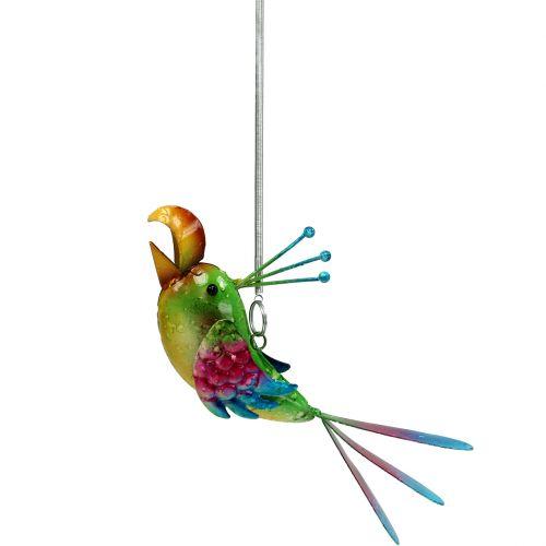 Oiseau à suspendre vert, fuchsia, bleu 19,5 cm