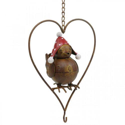 Oiseau déco métal à suspendre décoration jardin rouille rouge-blanc 15×21cm