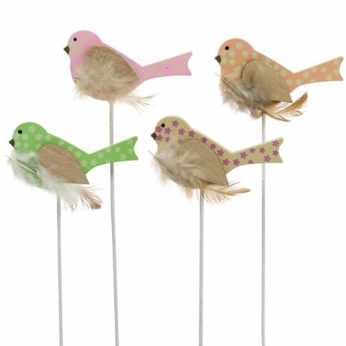 Bouchon décoratif oiseau bois vert, rose, jaune, orange assorti 7cm x 4cm H24cm 16pcs