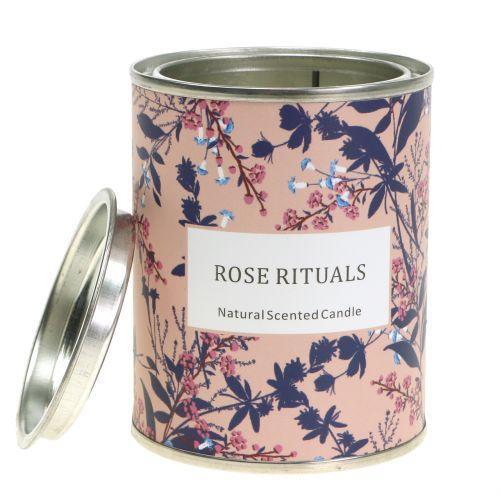 Bougie parfumée rose en boite fleurie Ø 6,5 cm
