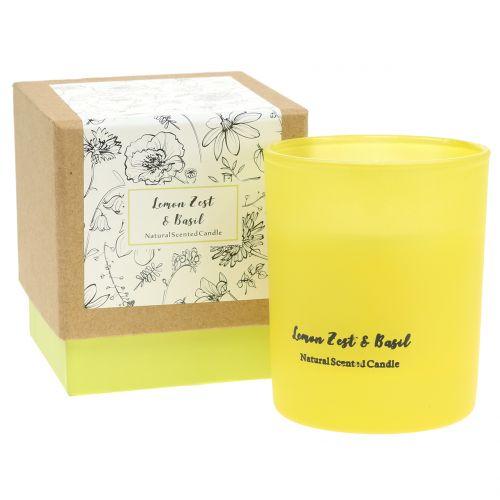 Bougie parfumée dans un verre de citron-basilic Ø7cm