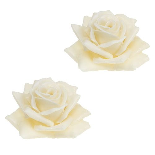 Cire rose Ø10cm crème 6pcs