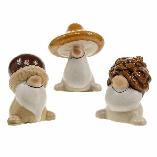Set de figurines en céramique gnomes forestiers fruits d'automne 6 - 6.3cm marron / jaune 3pcs