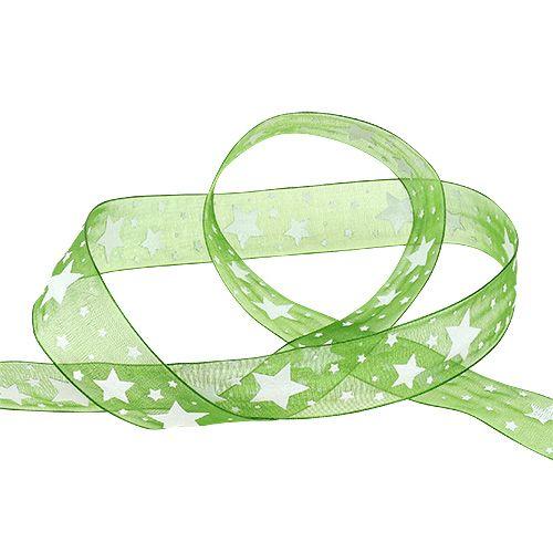 Ruban de Noël vert avec motif étoile 25mm 20m