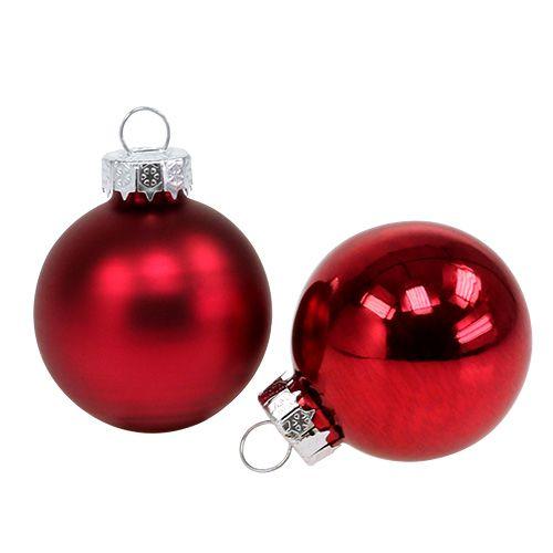 Boule de Noël Ø4cm rouge brillant / mat 24pcs