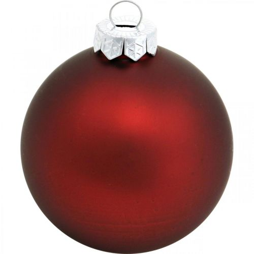 Boules de Noël, décorations d'arbres de Noël, boules en verre vin rouge H8.5cm Ø7.5cm vrai verre 12pcs