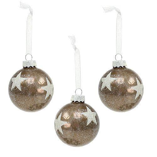 Boule de Noël en verre avec motif d'étoiles brun clair Ø 6 cm 6 p.