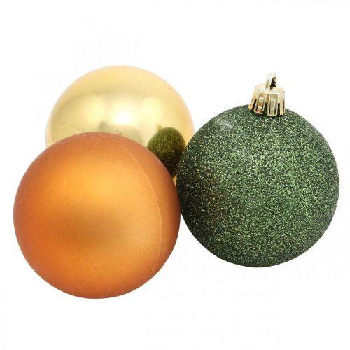 Boules de Noël, Décorations de l'Avent, Décorations pour arbres de Noël orange / doré / vert Ø5.5cm plastique 10pcs