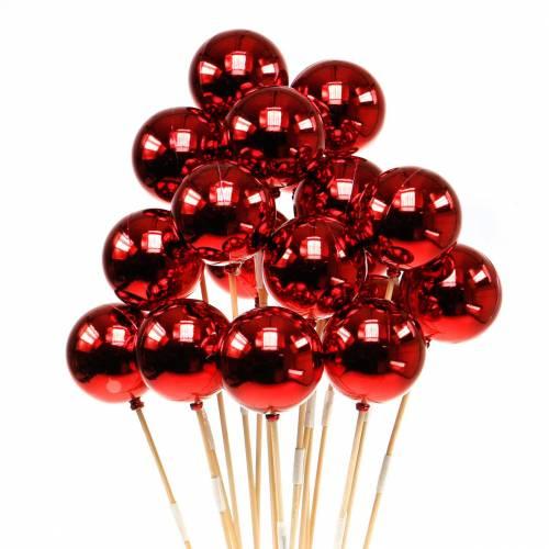 Boule de Noël sur bâton Ø6cm rouge 18pcs