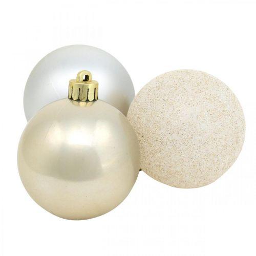 Décorations d'arbre, Boules de Noël, Décorations de l'Avent, Pendentifs d'arbre de Noël argent, nacre, crème Ø5.5cm plastique 10pcs