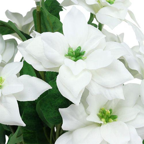 Poinsettia Bouquet Blanc L45cm