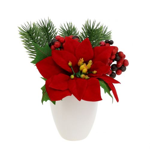 Poinsettia en pot rouge artificiellement H11cm