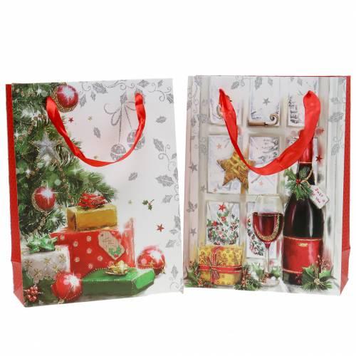 Pochette cadeau Noël 8 x 18 cm H. 24 cm lot de 2