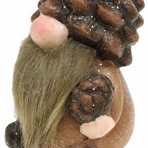 Nain décoratif cônes et glands en céramique Assortiment H10.5 / 12cm 4pcs