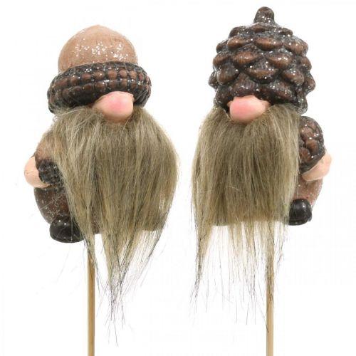Bouchon décoratif Gnome cônes et glands en céramique 8 / 8.5cm 4pcs