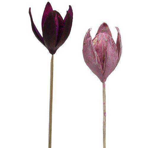 Lys sauvage à décorer sur un stick mix rose, bruyère 45p