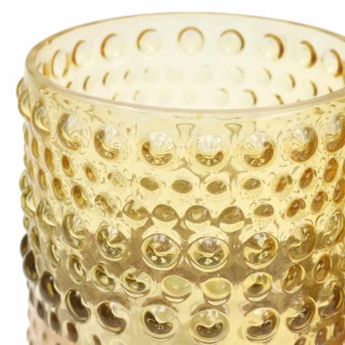 Lanterne en verre jaune, or Ø8,5cm H8cm 4pcs