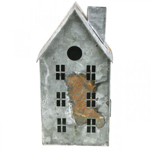 Lanterne maison métal shabby chic blanchie à la chaux, rouille H20cm