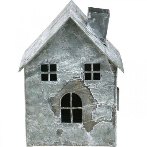 Lanterne de maison en métal, shabby chic, décoration de Noël, blanchi à la chaux, aspect antique H14.5cm