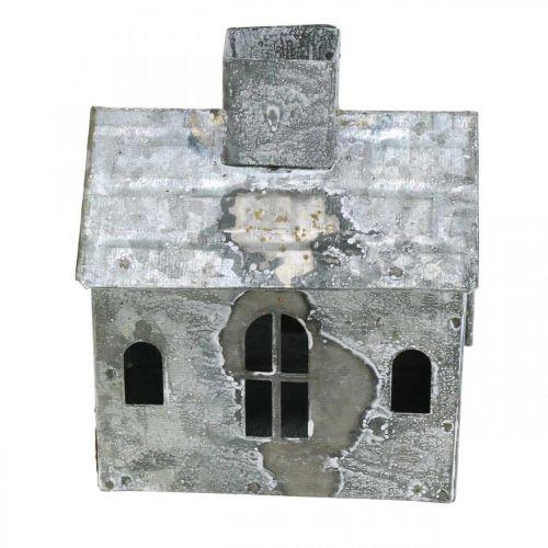 Lanterne maison métal shabby chic blanchie à la chaux, rouille H11cm